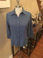 sag Harbor sz 8 blouse in medium Blue rayon mix. FREE shipping!
