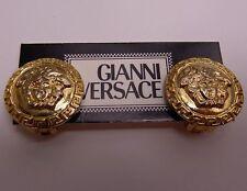 Auth Vintage Gianni Versace gold Medusa Earrings