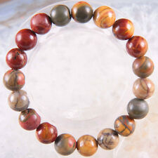 10mm Multicolor Natural Stone Picasso Jasper Round Bead Stretchy Bangle Bracelet