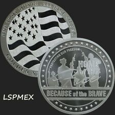Home Of The Free Because Of The Brave - USA Flag 1 oz Silver BU Round