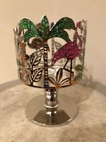 BATH & BODY WORKS FLAMINGO PALM TREES 3 THREE WICK CANDLE HOLDER PEDESTAL NEW