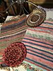 Vintage Homemade Farm Rugs Lot of 2 and 2 braided seat covers.