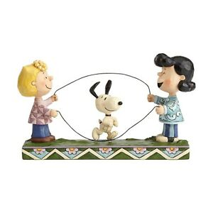 Jim Shore Peanuts Double Dutch Dog 4055659 Snoopy, Sally and Lucy Jump Rope MIB