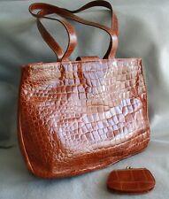 Vintage Furla Faux Alligator Leather Shoulder Bag w/ Duster Bag   Made in Italy