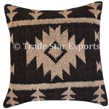 Ethnic Kilim Jute Pillow Cover 18x18 Vintage Rug Hand Woven Rustic Cushion Case