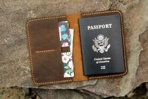 Personalized leather passport card case retro leather passport wallet holder