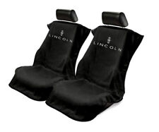 Pair 2 New Lincoln Logo Emblem Black Towel Protector Seat Armour Covers