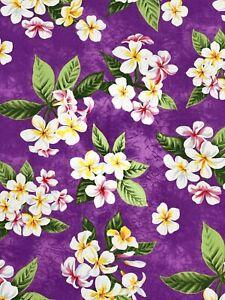 Purple With Yellow Plumeria Hawaiian Print Fabric sold by the yard