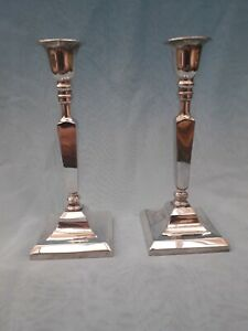 Vintage ~ Stylish Pair Of Small Thin Art Deco  Chrome Candlesticks