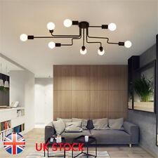 E27 Retro Ceiling Light Modern Vintage Industrial Metal Pendant Lamp 4/6/8 Way