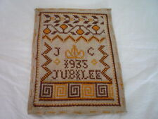 Small English Patriotic Sampler Dated 1935 Jubilee Initials J C