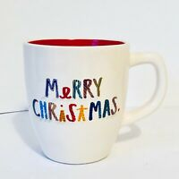 "New Rae Dunn by Magenta Colorful Letters ""Merry Christmas"" Ivory Mug Red Inside"