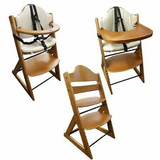 Wooden Baby Highchair | 3-in-1 Kids Wooden Highchair (Teak) with Tray and Bar