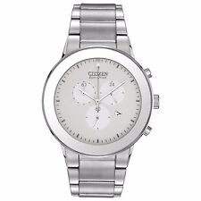 Citizen Eco-Drive Men's AT2240-51A Axiom Chronograph White Dial 43mm Watch