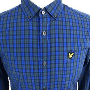 Men's Lyle & Scott Shirt Blue Check Long Sleeve Shirt Size M