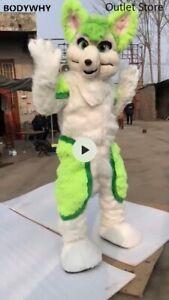 Green Long Fur Husky Dog Mascot Costume Fursuit Cosplay Party Dress Carnival L