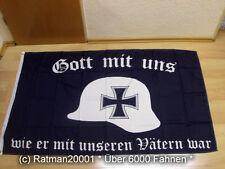 Fahnen Flagge Deutsches Reich Gott mit uns Stahlhelm - 90 x 150 cm