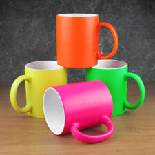 Set 4 Ceramic Tea Coffee Mugs Neon Plain Colour Christmas Designs Gift Present