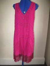 L JANE NORMAN BRIGHT PINK DRESS BEAD FLAPPER TASSELS UK 12 / EU 38 RRP 50£