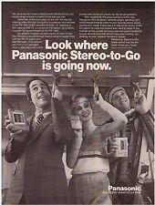 Original 1982 Panasonic Stereo-to-Go (Walkman) Cassette Player Vintage Print Ad
