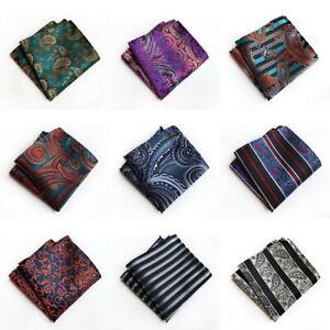Men Retro Paisley Handkerchief Wedding Party Floral Jacquard Pocket Square Hanky