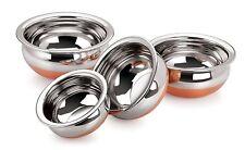 Steel & Copper Handi 4-piece Set Cookware Copper base long lasting Durability