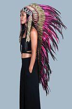 Indian headdress, long length, Pink feather headdress, warbonnet