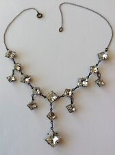 VINTAGE ART DECO STERLING SILVER CLEAR PASTE CLOSED BACK DANGLING NECKLACE
