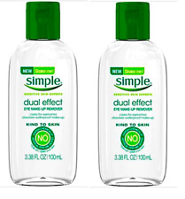 LOT OF 2 Simple Kind to Skin Dual Effect Eye Makeup Remover 3.38 oz