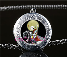 Jack And Sally Photo Cabochon Glass Tibet Silver Locket Pendant Necklace