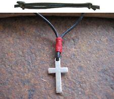 Herren Kette Kreuz  Kreuzkette schwarz rot neu Halskette Lederkette Herrenkette