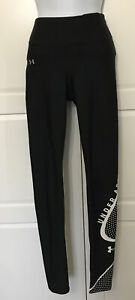 Under Armour Black White Stretch Active Leggings Size SM Gym Yoga Lounge Fit
