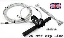 ZIP LINE 18 M JUNIOR KIT COMPLETO di limite di peso 100kg All'aperto Divertimento Made in UK