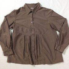 J Jill Brown Button Front Long Sleeve Women's 40% Silk Top Blouse Size Small S