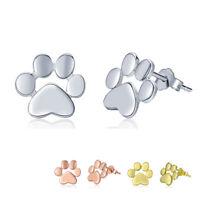 Lovely Dog Cat Pet Paw Footprint Ear Stud Earrings 925 Sterling Silver Jewelry