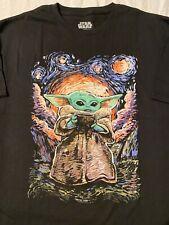 The MANDALORIAN Baby YODA Fett THE CHILD Van Gogh DISNEY movie New MEN'S T-Shirt