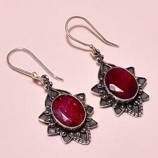 """FACETED KASHMIR RUBY VINTAGE STYLE 925 STERLING SILVER EARRING 1.75"""""""