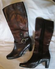 Women's Jana German Riding Boots Equestrian Size 40H US 9.5 Brown Leather