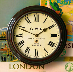 """Railway Station Wall Clock Great Western GWR type 12""""dia quality reproduction"""