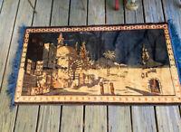 Vintage Pair Velvet Tapestries Wall Art Rugs, Mirror Image, Desert Motif, Fringe