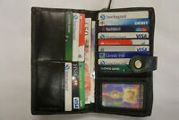 Ladies Leather Purse Wallet Extra Large Black Top Brand London Leather Good RFID