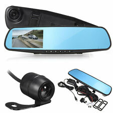 """Rear View Back Up Dash Camera Dual Lens Rearview Mirror Cam 5"""" HD LCD Screen"""