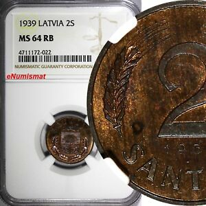 LATVIA Bronze 1939 2 Santimi NGC MS64 RB 1 YEAR TYPE Mint Luster KM# 11.2