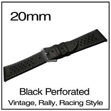 • 20mm Black Perforated Luxury Leather Vintage Racing Rally Style Watch Strap •