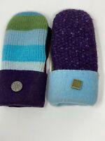 BaaBaaZuzu Reclaimed Vintage Wool Mittens Upcycled Fleece Lined Blue Purple