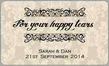 Wedding Favour Labels Vintage Stickers Tissues Happy Tears Thankyou Personalised