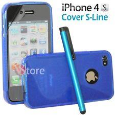 Cover Custodia Silicone Gel TPU S-Line Blu Per iPhone 4/4G/4S + Pellicola Pen