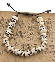Pulsera Mala Tibetano Cabeza De Calavera -Blanc-14mm Tibet Nepal 8316