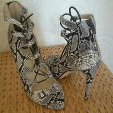 Women's Snake Print, Lace Up, Open Toe Heels