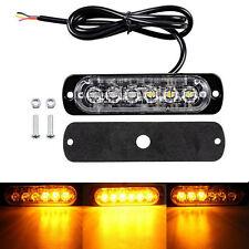 Amber 6 LED Car Truck Flash Emergency Hazard Warning Strobe Light Bar 12V-24V
